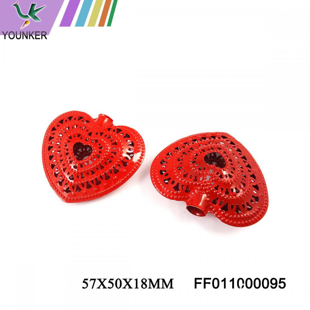 Red Led Light String Heart Shape Metal Ornaments