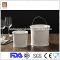 white porcelain mini champagne ice bucket with steel handle