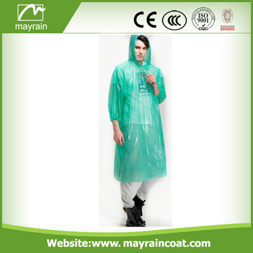 Green Emergency Adult PE Raincoat