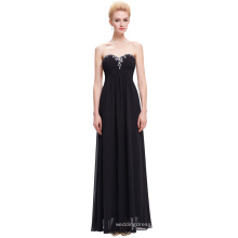 Starzz Ladies Full-Length Strapless Chiffon Black Long Evening Party Wear Gown 2016 ST000002-1