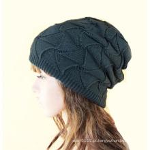 Mulheres moda acrílico malha chapéu de inverno quente (yky3135)