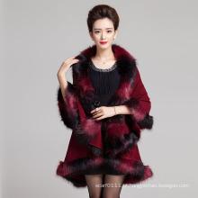 Moda mulher espaço tingido xale de malha de inverno pele de faux (yky4472)