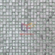 Silver Aluminium Alloy Mix Crystal Glass Mosaic Tiles (CFA47)