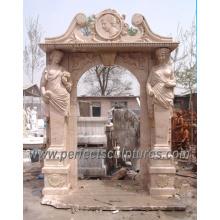 Marco de mármol de la puerta del arco de la piedra para la puerta del rodeo de la puerta (DR006)