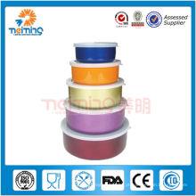 5pcs vasilha de estoque de alimentos de aço inoxidável colorido