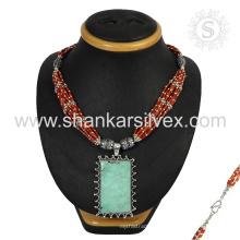 Collar de plata de la piedra preciosa del coral y de la turquesa Scrumptious venta al por mayor 925 joyería india de la joyería de la plata esterlina