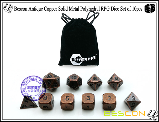 Bescon Antique Copper Solid Metal Polyhedral RPG Dice Set of 10pcs-1