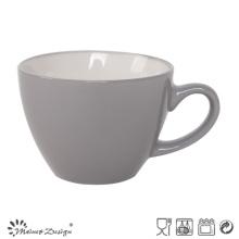 Tasse à soupe en céramique 8oz à l'intérieur blanc extérieur gris