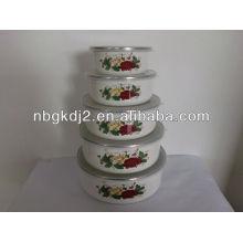 5pcs enamel storage bowl sets with plastic lid 5pcs enamel storage bowl sets withplastic lid