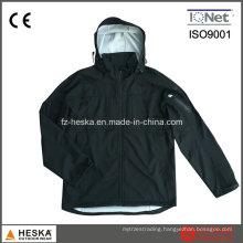Men′ Swaterproof Hooded Black Softshell Jacket