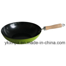 Utensílios de cozinha Wok colorido de aço carbono com utensílios de cozinha de revestimento antiaderente