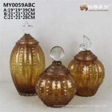 Home decoration antique style floor glass pot glass vase