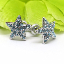 Boucles d'oreilles en gros en alliage d'argent pavé de cristal Star