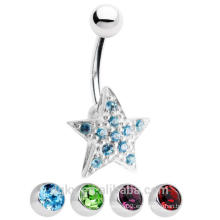 Anillo con forma de botón de vientre estrella 14ga con gemas CZ