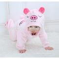Bébé doux flanelle barboteuse Animal Cochon Onesie pyjamas tenues costume, vêtements de couchage, tissu rose mignon, serviette à capuchon pour bébé