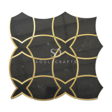 Nero Marquine and Brass Luxurious Marble Waterjet Mosaic Tile