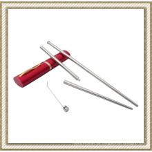 Plegable de acero inoxidable palillos con palillos de dientes (CL1Y-CS202)