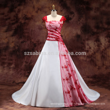 2017 appliques en dentelle manche en manche satiné Une robe de mariage en ligne avec de vraies images