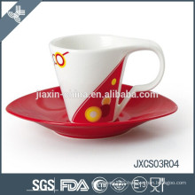 Cappuccino porcelain oval coffee cup and saucer, new design cup set, small cup set