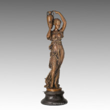 Female Classical Figure Small Bronze Sculpture Girl Decoration Brass Statue TPE-911