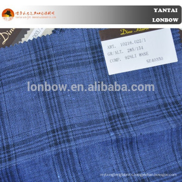 Windowpane blue check suit fabric stock of super wool linen silk fabric