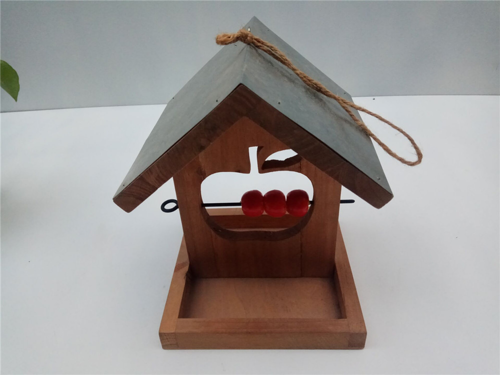 solid wooden bird house hanging