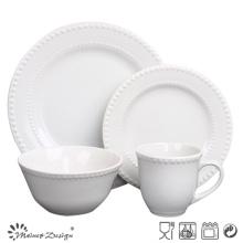 White Glaze Ceramic Embossed Dinner Set