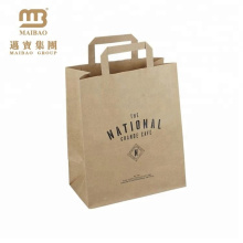 FSC Approved Grocery Take Away Printing Brown Kraft Paper Carrier Bag With Flat Handle Custom Logo