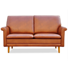 European Style Home Design Furniture Leather Wooden Sofa