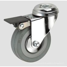 Rodízio de borracha cinzento da indústria 3inch com freio inteiro