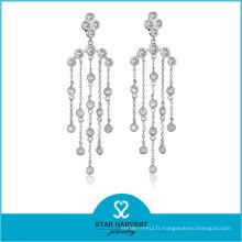 Élégant élégant bijoux en argent rhodié en gros de pierres précieuses (E-0258)