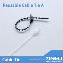 Attache de câble réutilisable de type perle