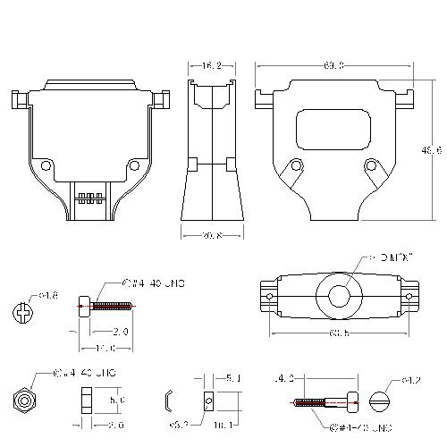 DBZU-37XX1 4 D-SUB METAL HOODS,37P,U TYPE, SHORT SCREW