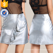 O Ring Faux Leather Skirt Manufacture Wholesale Fashion Women Apparel (TA3096S)