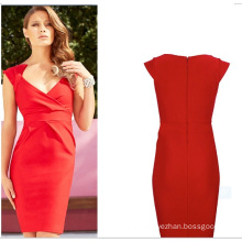 OEM Deep V-Neck Sexy Middle Aged Casual Women ′s Dress