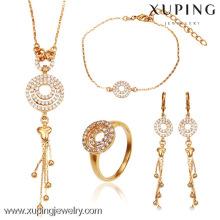 63102- Xuping Italian bijoux 4 pièces bijoux en laiton ensemble 18k