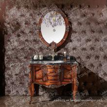 Gabinetes de baño de madera de diseño antiguo con espejos
