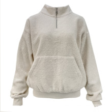 2021 New Style Lady'S Knitted Long Sleeve Women Sherpa Jumper With Pocket And Zipper Detailed
