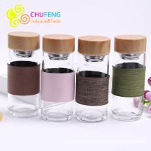 Glass Water Bottle Tea Infuser Bottle Tea Shaker Bottle Tea Glass With Sleeve Bamboo Grain Lid