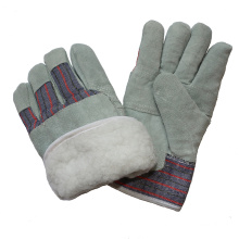 Boa Full Lining Leather Paste Cuff Winter Warm Work Gloves for Rigger