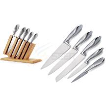 5 peças de aço inoxidável oco lidar com faca de cozinha conjunto (A59)