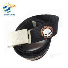 Cinturón elástico con logotipo en relieve del cliente y patrón de impresión para jeans
