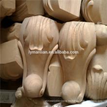 Piezas de mueble talla en madera de mesa de pata