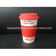 Porcelain Coffee Mug with Silicon Cover, Single Wall
