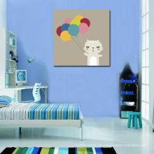 Nette Katze mit Ballon-Segeltuch-Drucke für Kinder