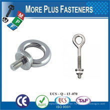 """Made in Taiwan Stainless Steel 3/16"""" x 1-9/16"""" OAL x 3/8"""" I.D. Zinc Plated Lag Thread Screw Eye Bolt"""