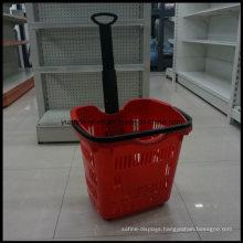 Plastic Single Pole Floating Supermarket Shopping Basket with Hanlde