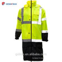 Gros ANSI imperméable à l'eau salut vis veste de pluie salut visibilité réfléchissant sécurité homme à capuchon à long imperméable