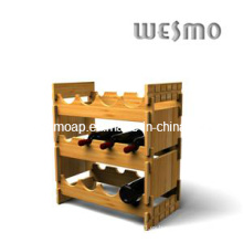 Estante para botellas de vino con bambú