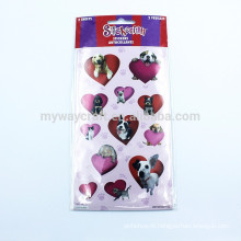 Lovely Dog Cat Purple & Red Heart Combine Velvet Sticker